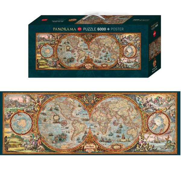 The World- Antyczna mapa sferyczna ( Puzzle+plakat ) - Sklep Art Puzzle