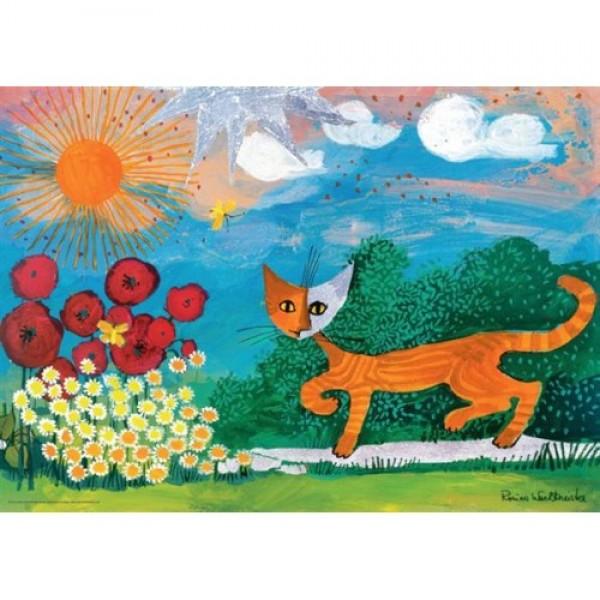 Kot w ogrodzie - Sklep Art Puzzle