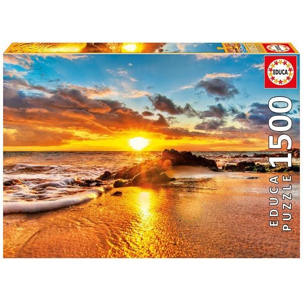 Zachód słońca na plaży w Maui (Puzzle+klej) - Sklep Art Puzzle