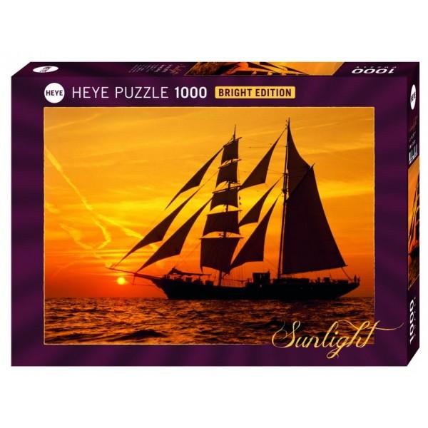 Żaglowiec z zachodem słońca w tle - Sklep Art Puzzle