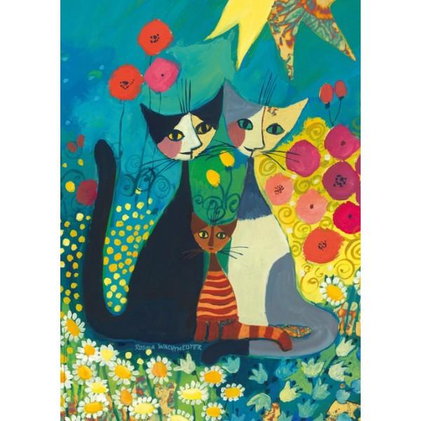 Szczęśliwa rodzinka pośród kwiatków - Sklep Art Puzzle