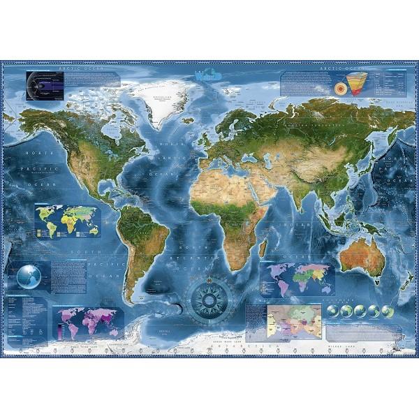 Satelitarna mapa Świata - Sklep Art Puzzle