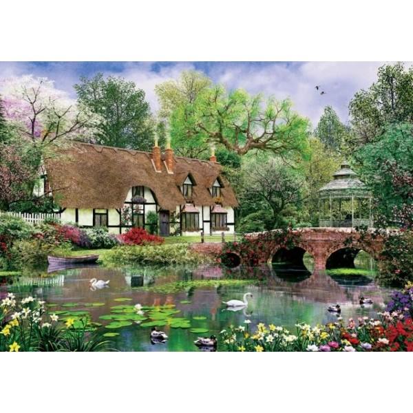 Chatka  i kwiaty lotosu (1000el.) - Sklep Art Puzzle