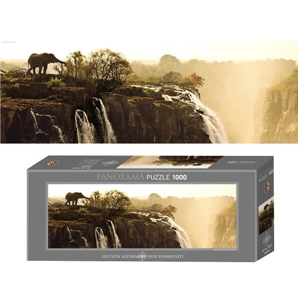Afryka, Zambia-Słoń przy wodospadzie  - Sklep Art Puzzle