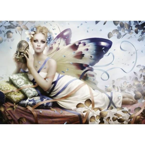 Kobieta motyl z maską - Sklep Art Puzzle