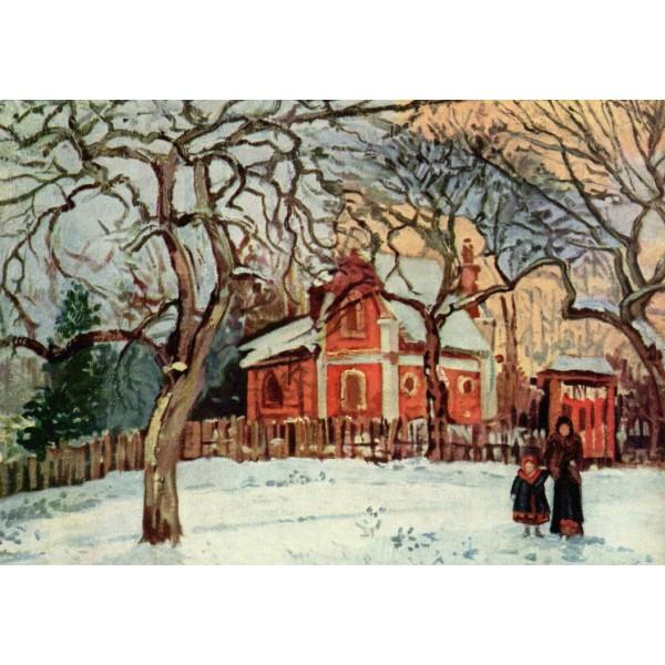 Czerwony dom w zimie (1000el.) - Sklep Art Puzzle
