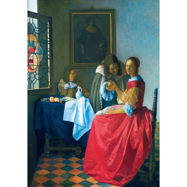 Dziewczyna z kieliszkiem wina, Vermeer, 1659 - Sklep Art Puzzle