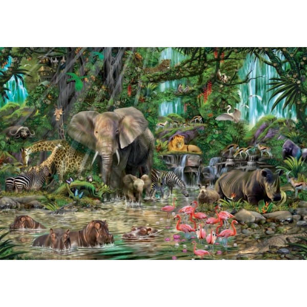 Afrykańska dżungla, 2000el.( Puzzle+klej) - Sklep Art Puzzle