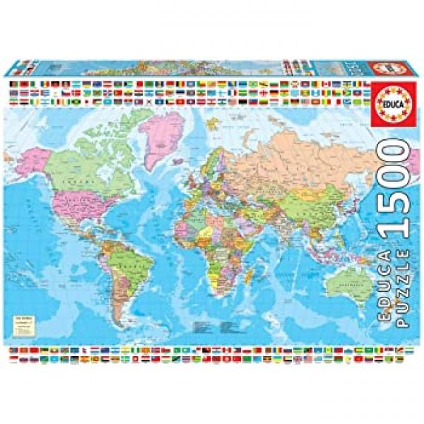Polityczna mapa Świata,1500el. (Puzzle+klej) - Sklep Art Puzzle