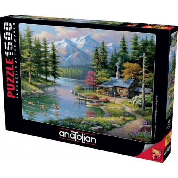Chatka nad rzeką, Sung Kim (1500el.) - Sklep Art Puzzle