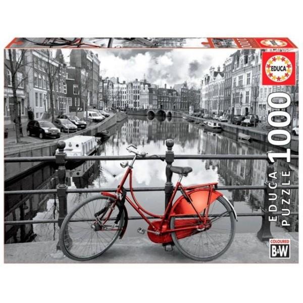 Holandia, Czerwony rower nad kanałem w Amsterdamie (1000el.) - Sklep Art Puzzle