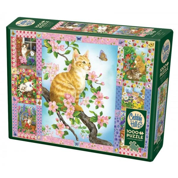 Kotki i kwitnące kwiatki ( Puzzle+plakat ) - Sklep Art Puzzle
