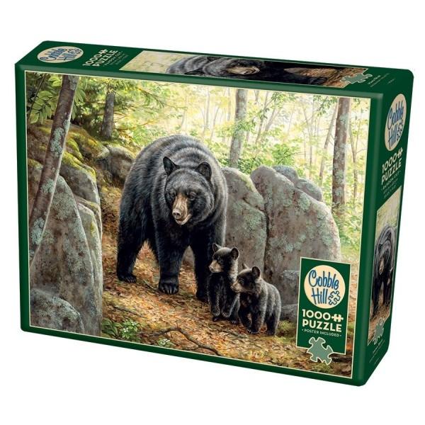 Rodzina niedźwiedzi brunatnych (Puzzle+plakat) - Sklep Art Puzzle