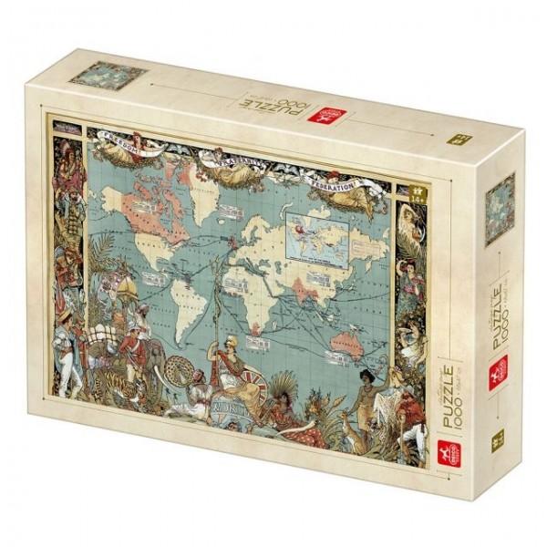 Mapa Imperium Brytyjskiego (1886) - Sklep Art Puzzle