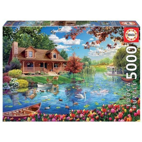 Dom nad jeziorem (5000el.) - Sklep Art Puzzle