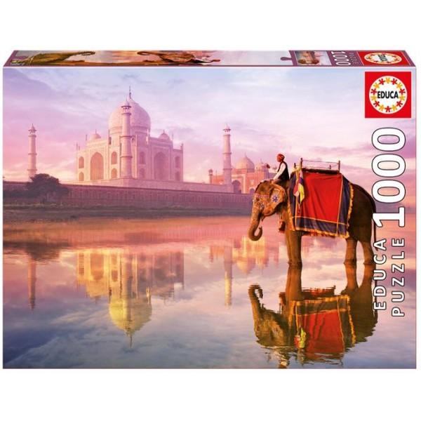 Indie, Słoń w  Taj Mahal (Puzzle+klej) - Sklep Art Puzzle