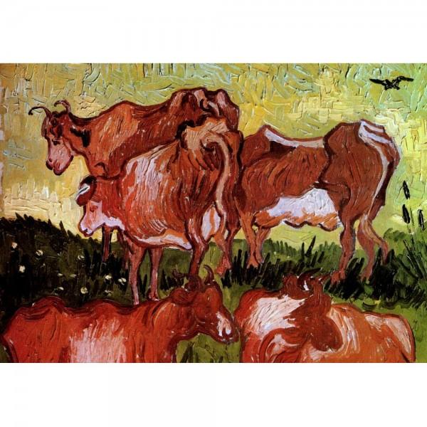 Czerwone krowy, Van Gogh - Sklep Art Puzzle