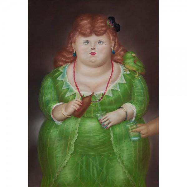 Kobieta  z ptakiem, Botero - Sklep Art Puzzle