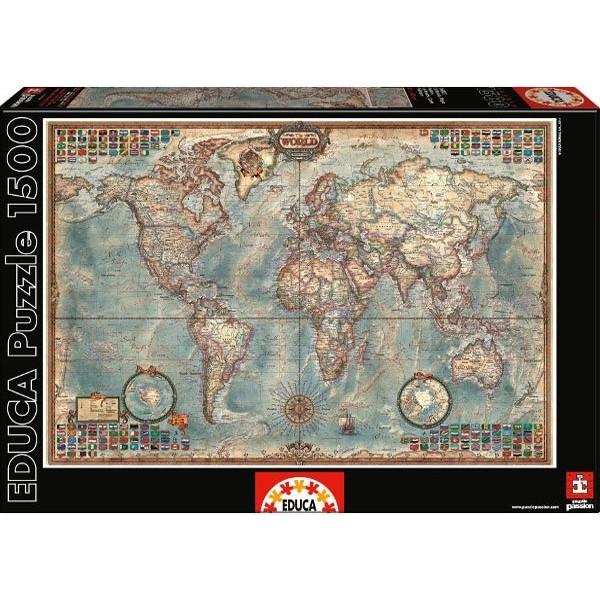 Polityczna mapa Świata (PUZZLE + KLEJ) - Sklep Art Puzzle
