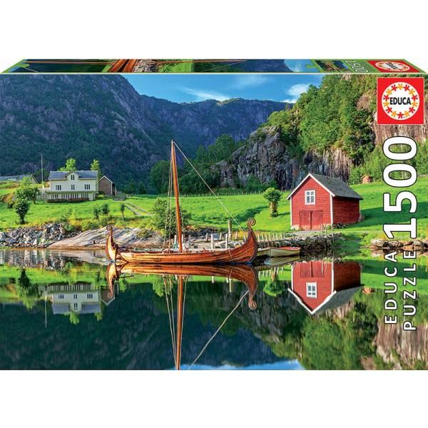 Barka wikingów, Norwegia (Puzzle+klej) - Sklep Art Puzzle