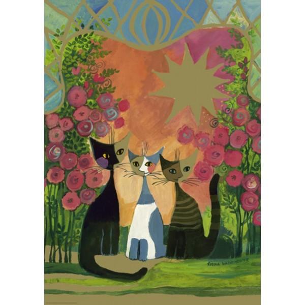 Rodzinka kotów pośród róż ( metalizowane), Wachtmeister Rosina - Sklep Art Puzzle
