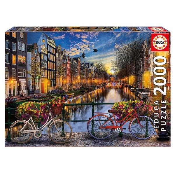 Holandia, Amsterdam i czerwony rower (Puzzle+klej) - Sklep Art Puzzle