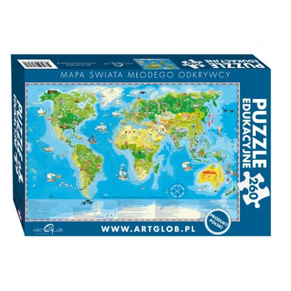 Mapa Świata młodego odkrywcy - Sklep Art Puzzle